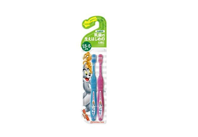 子どもが自分で握りやすい! トムとジェリーハブラシ2本組 1.5~5歳 乳歯期用
