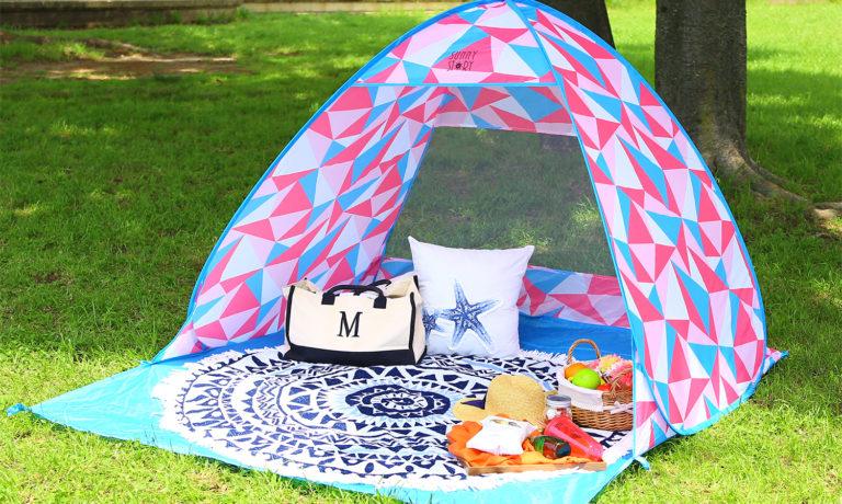 かわいいテントが5秒で設置!アウトドアワンタッチテント「SUNNY STORY」のモニター募集!