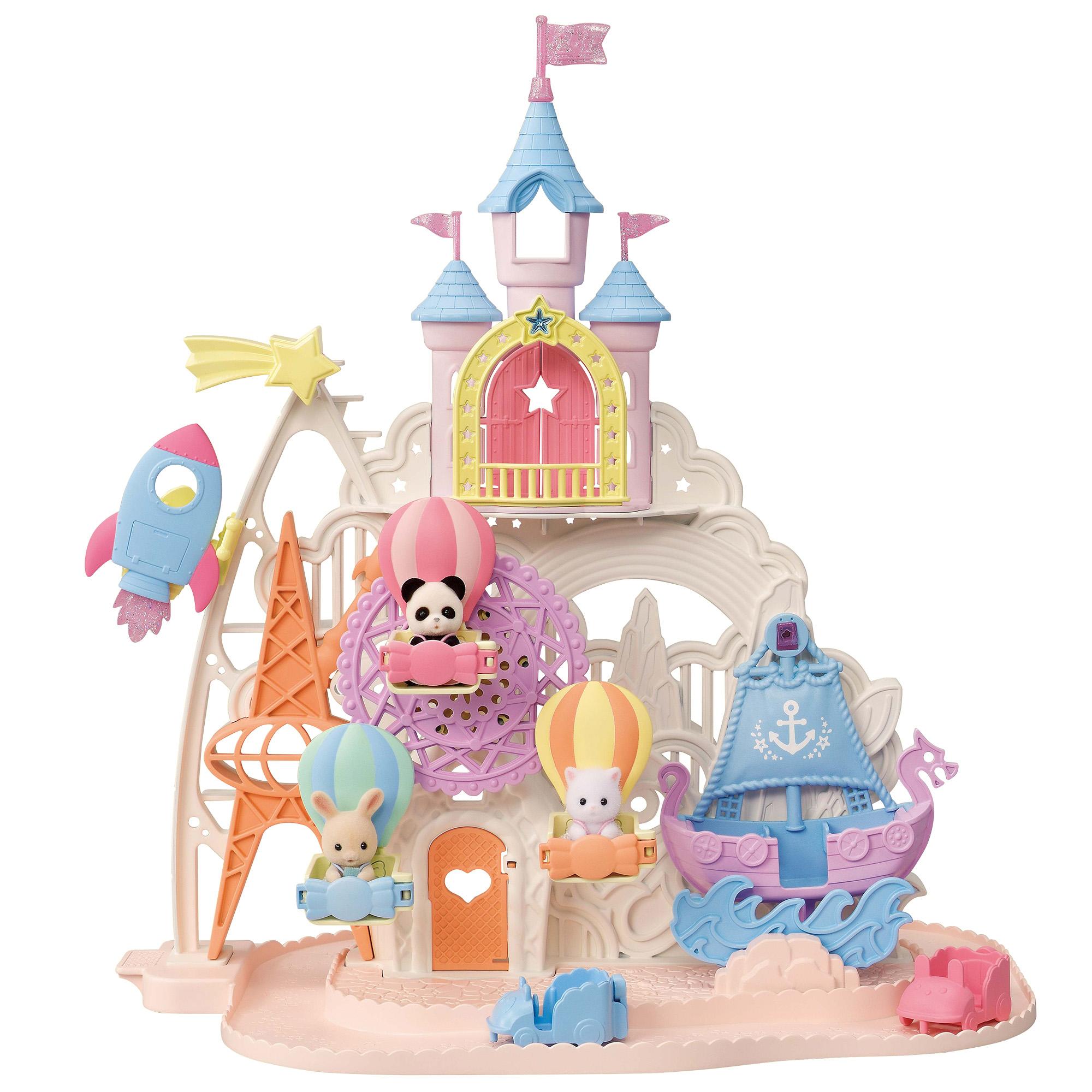 プレゼント!かわいい赤ちゃんのお人形が3体セットに♪シルバニアファミリーに新登場の「お城のゆめいろゆうえんち」