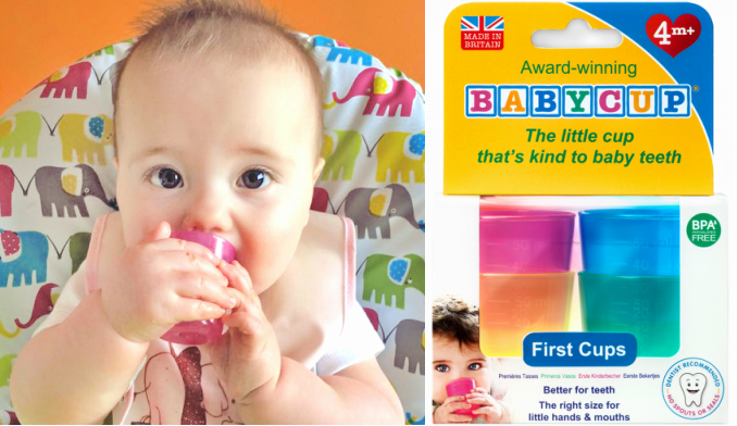プレゼント!コップトレーニングにぴったり♪赤ちゃんの小さな手で持って飲みやすい「BABYCUP(ベビーカップ)」