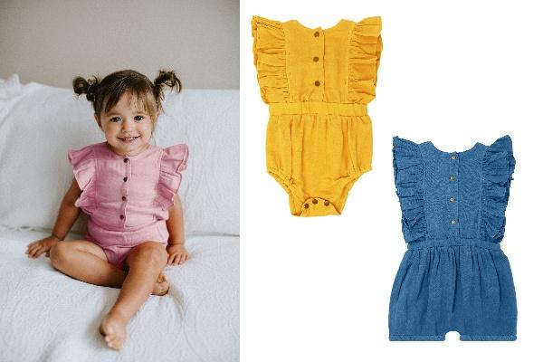 プレゼント!夏のおしゃれ着はこれに決まり♪袖のフリルとバックスタイルもかわいい♪ L'ovedbaby「Muslin Ruffle Bodysuit」