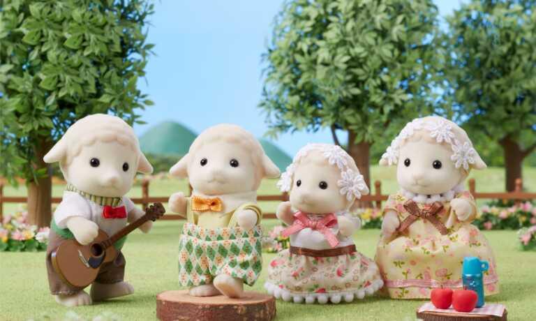 プレゼント!かわいいもこもこヘアのお人形4体がセットに♪シルバニアファミリー「ヒツジファミリー」